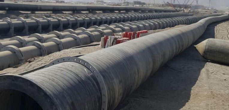 Installation of 3800 meters of 2400mm diameter HDPE intake line and 3800 meters of 1800mm diameter HDPE outfall line at Qurayyat desalination plant Oman .