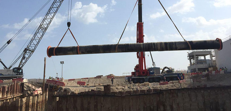 Installation of Onshore 2000mm diameter spool section at Barka Desalination Plant Oman